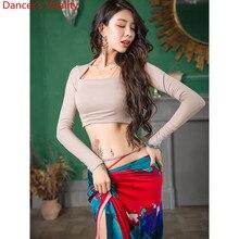 Ubrania taneczne brzucha Slim Fit kobiety jesień nowy 3 kolor Top modalne długie spódnice orientalne indyjskie taniec grupa praktyka odzież treningowa