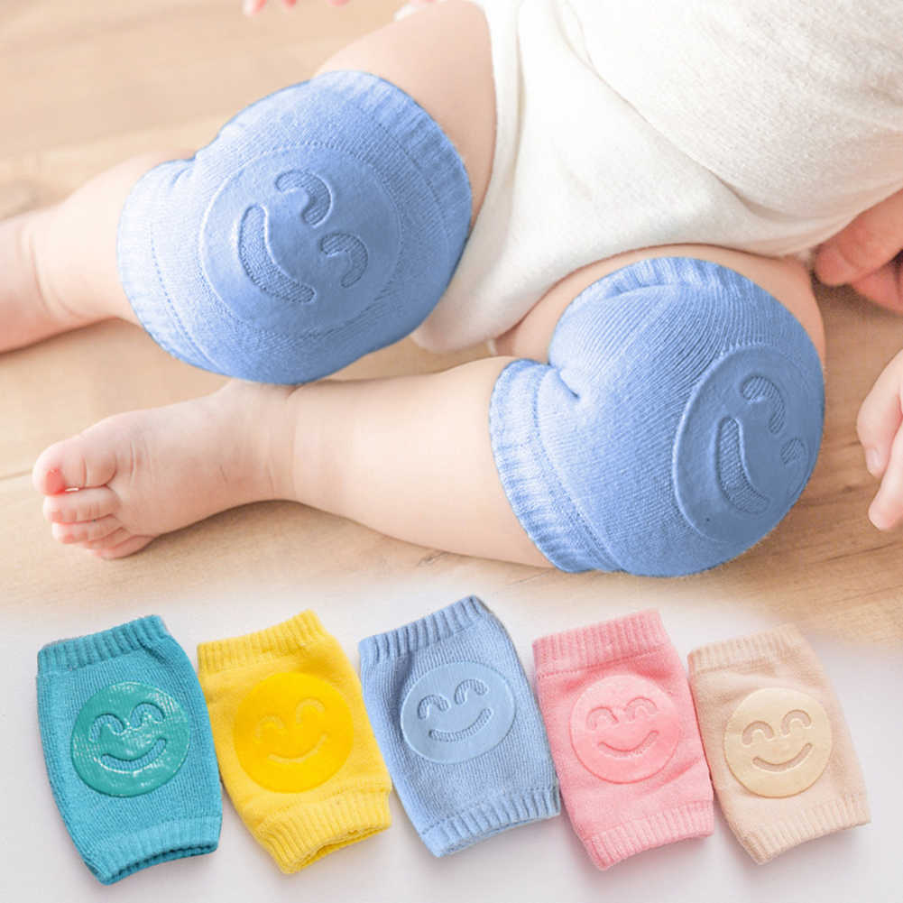 1 Pair Newborn Crawling Knee Pads Baby Smile Face Cotton Knee Guard Toddler Crawling Elbow Cushion Leg Warmer Knees Protector