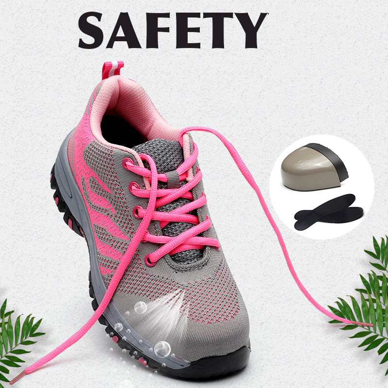 Safety Shoes With Steel Toe Cap Pink Shoes For Women Outdoor Work Protective Shoes Mens Shoes Casual Men Sneakers