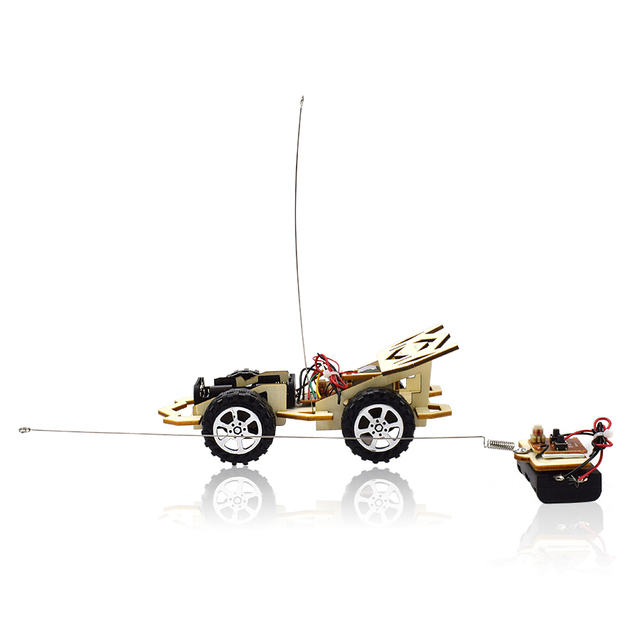 Remote Control Phantom Racing Model Kit Car Toy for Boys DIY Manual Assembly Wooden Model Electric Robotics Educational Kits Car 2