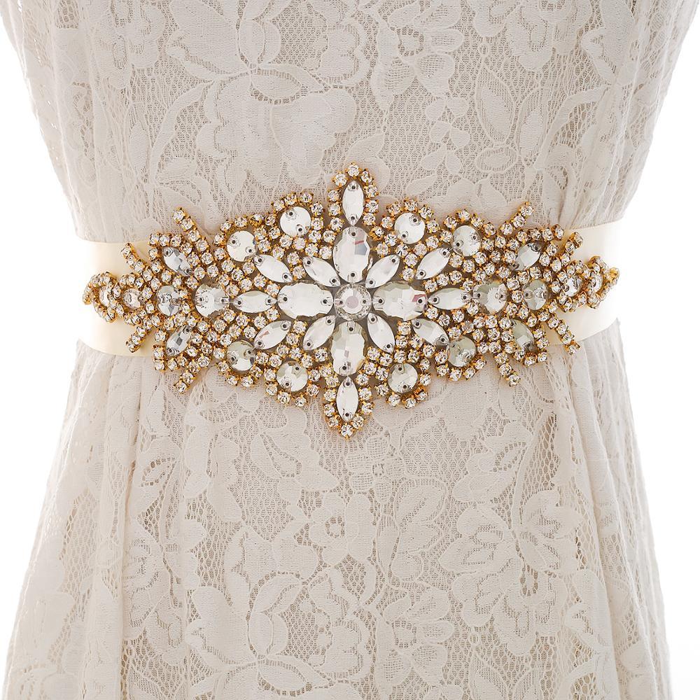 Beads Bridal Belt Sash Crystal Wedding Sash Rhinestones Wedding Belt Gold For Women Evening Dresses J101G