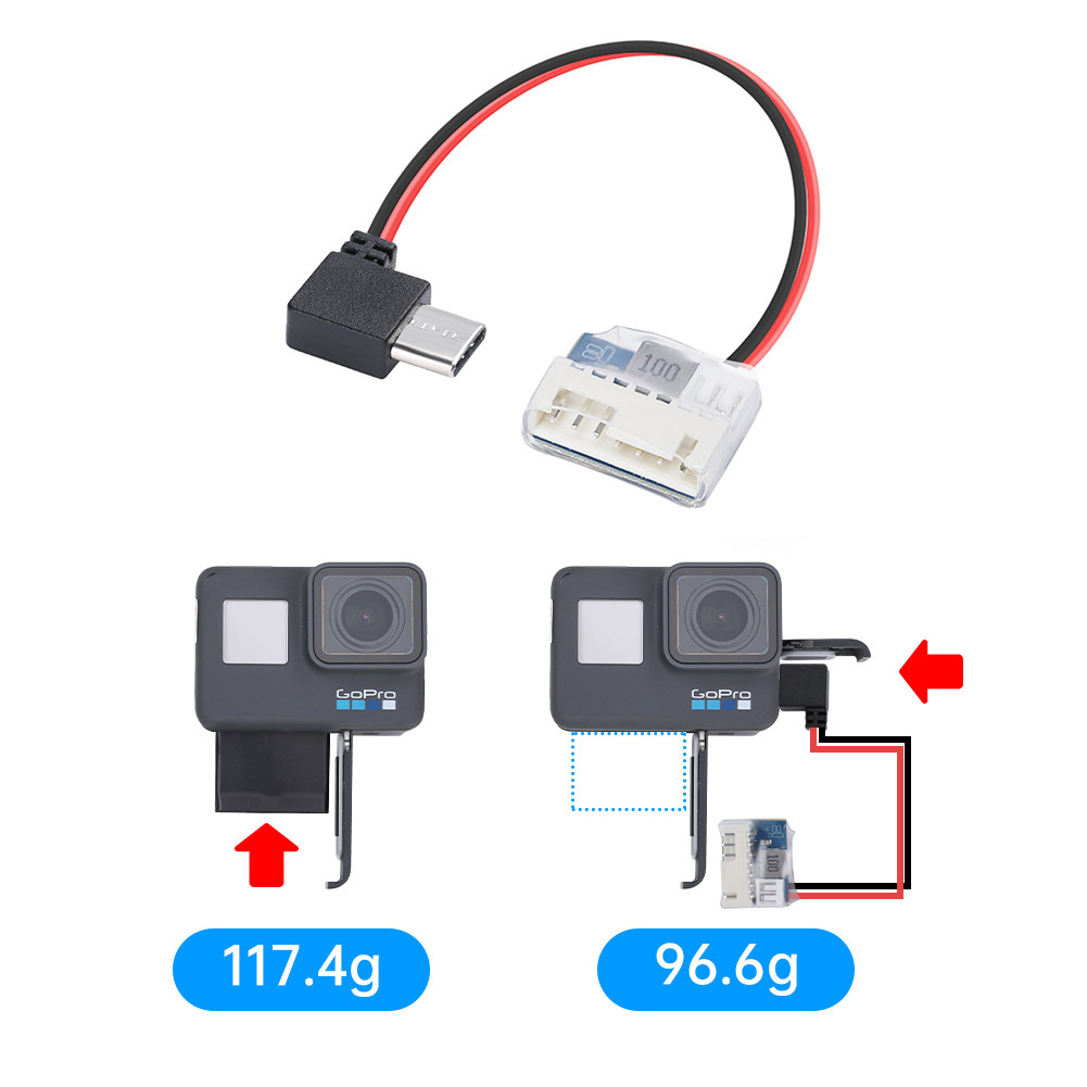 Type C to 5V Balance Plug Power Cable Charging Cable for GoPro Hero 6/7/8/9 for FPV drone part