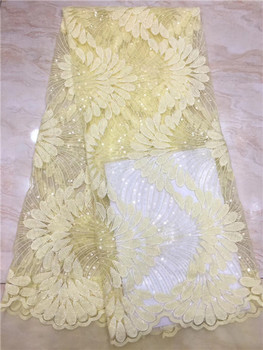 Yellow Color High Quality African French Net Laces With Sequins Embroidery Swiss Voile Wedding Tulle Lace Fabric X8
