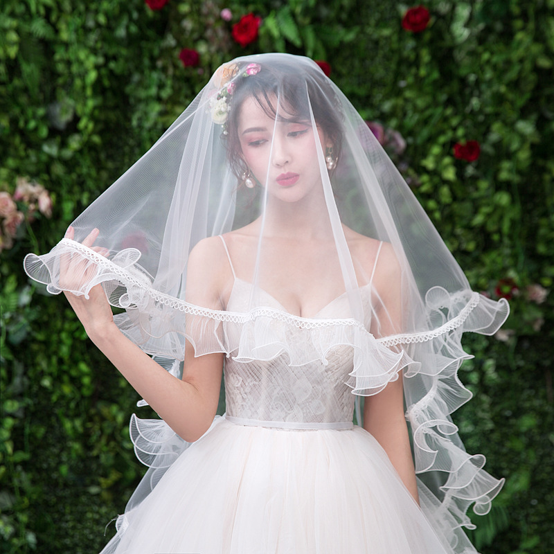 2019 New Bride Veil Single Layer Wavy Simple Plain Yarn Cover Wedding Veil Travel Photo Accessories