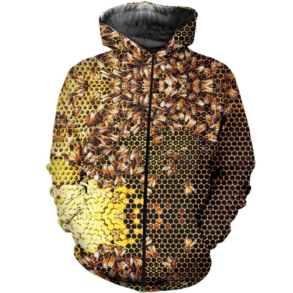 PLstar Cosmos Fashion Men <font><b>hoodies</b></font> insect Bee <font><b>3D</b></font> Printed zip Hoodie <font><b>Unisex</b></font> hip hop streetwear hoody Sweatshirt drop shipping image