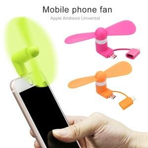 Miniventilador portátil 2 em 1 para celular, micro adaptador usb tipo ios smartfone android ventilador inteligente eletrônico txtb1
