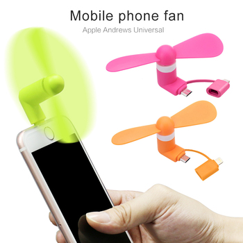 Portable Mini 2 In 1 Mobile Phone Fan, Micro USB Adapter Type IOS Smartphone Android Electronic Smart Fan TXTB1 usb and micro usb two in one colorful mini phone fan green