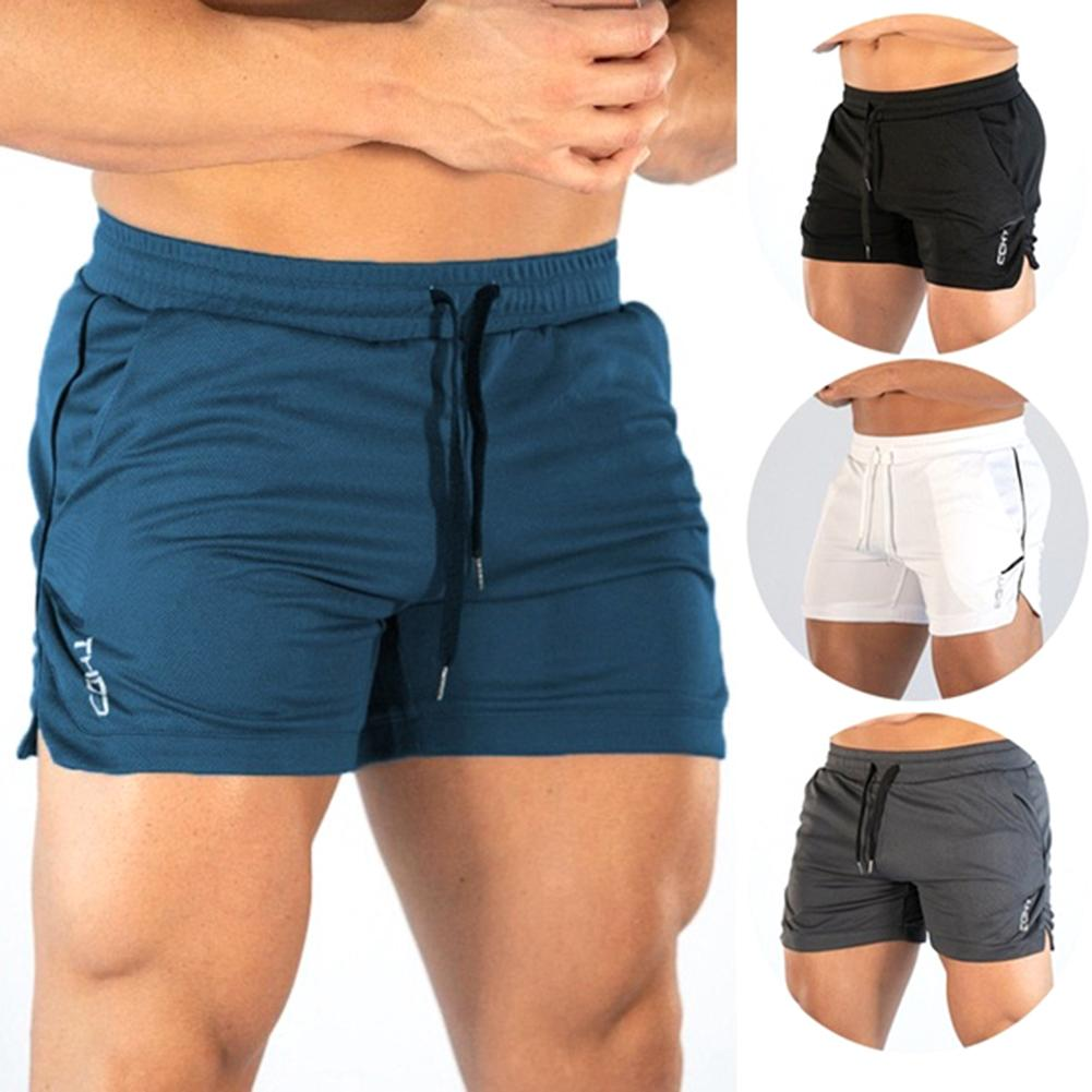 Men Summer Outdoor Sports Elastic Drawstring Waistband Running Fitness Quick-drying Short Pants Summer Thin Three-point Pants