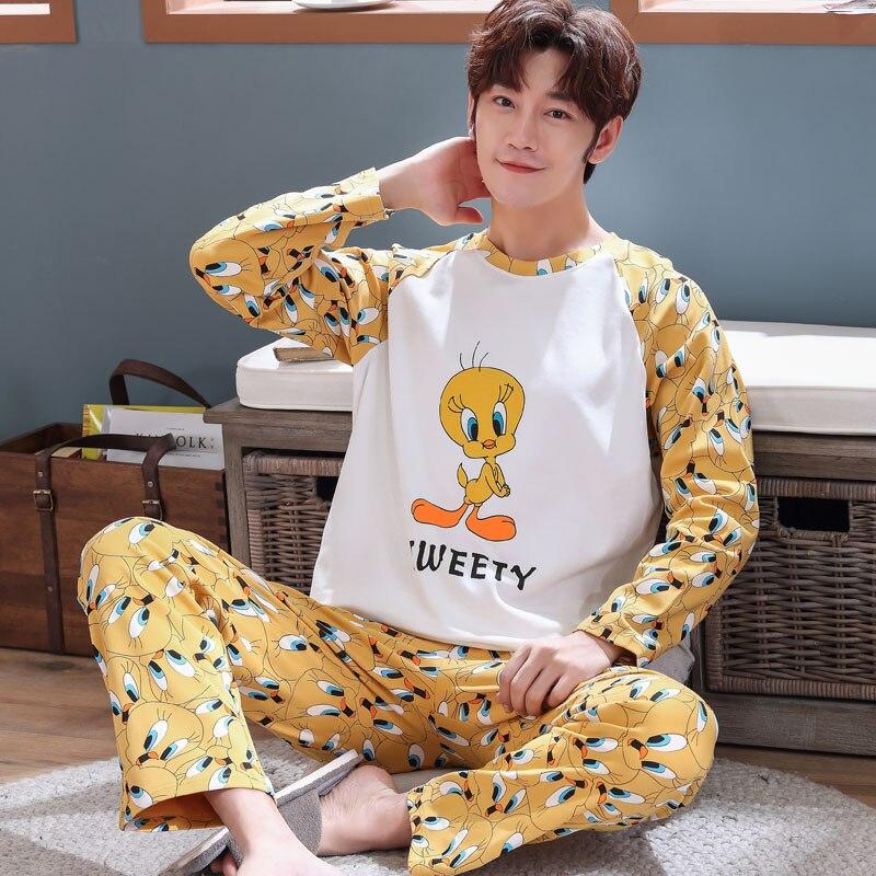 3XL 4XL 5XL Sleepwear Long Sleeve Autumn Winter Warm Cotton Pajamas Sets Long Pant Male Pyjama Set Loose Leisure Outwear Set
