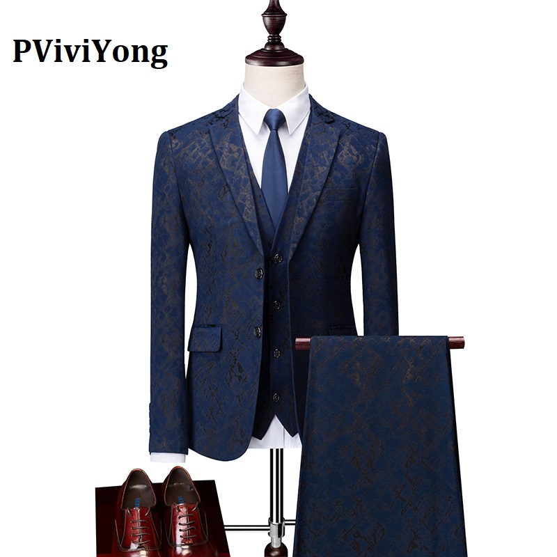 PViviYong Brand 2019 High Quality Suit Men,wedding Party High-grade Suit 3 Piece (Jackets + Vest + Pants) 991