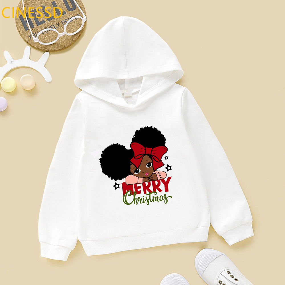 Felpa con cappuccio Little melanin princess with bow print merry christmas lovely afroamerican black girls felpe bianche rosa gialle