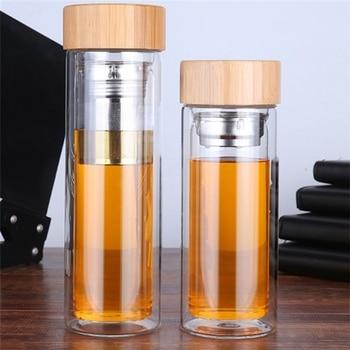 Стеклянная бутылка для питья (350-450 мл) с бамбуковой крышкой