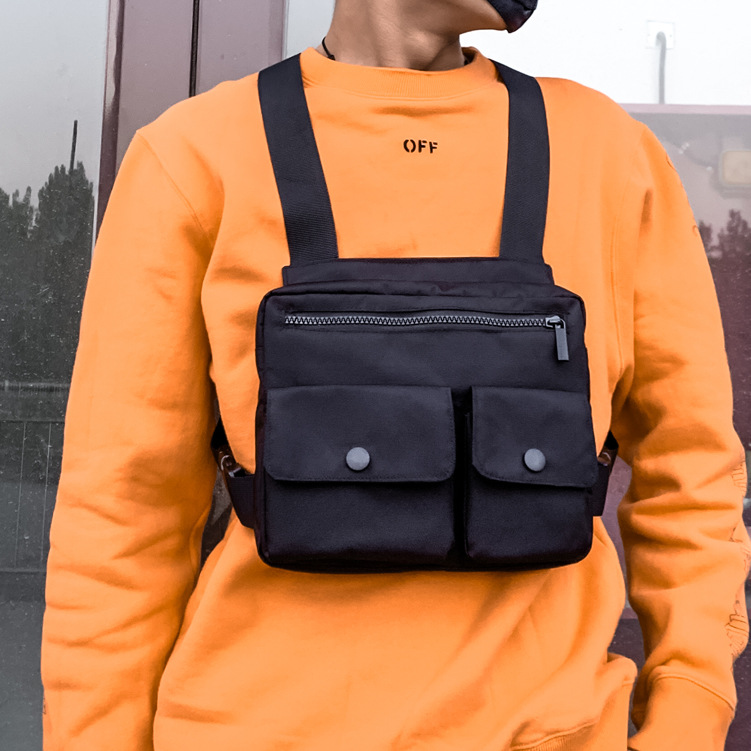 Men Tactical Vest Waist Bag Hip-hop Chest Rig Bag For Men Male Abdomon Bags Canvas Fanny Pack Chest Purse Streetwear Kanye