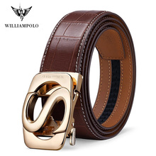 WILLIAMPOLO brand Fashion Automatic Buckle Black Genuine Leather Belt Mens Belts black Cow for Men 3.5cm Width