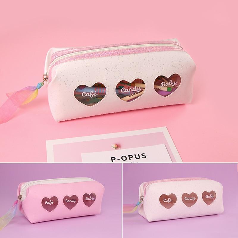 Cute Lovely Heart Pencil Bag Mini Pencil Case Kawaii Novelty Gifts For Girls New Coming Beautiful Heart Pen Bag School Supplies