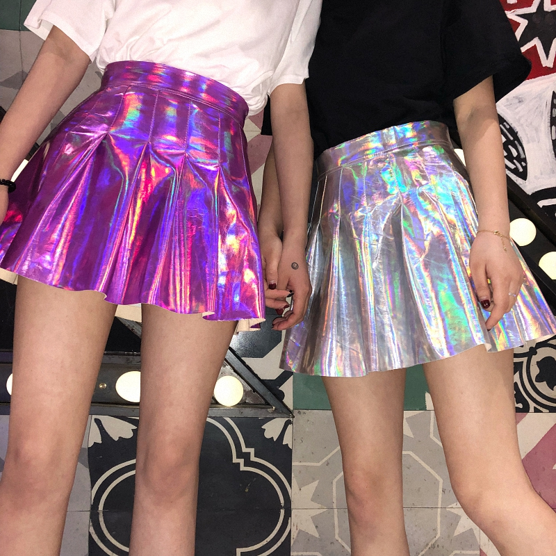 2019 Summer Fashion Women PU Solid Harajuku Casual Sexy Laser Hight Waist Micro Mini Short JK Skirts Holographic Pleated Skirts