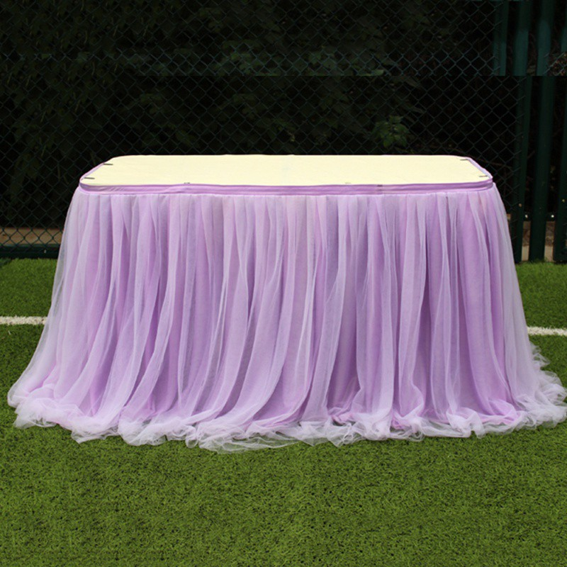 Table Skirt Multi Colors Tulle Tutu Tablecloth Dining Table Cover Cloth Home Hotel Textile For Wedding Event Hotel Decoration