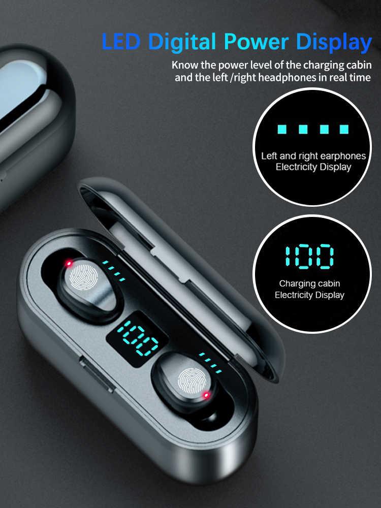 F9 TWS słuchawki z bluetooth 5.1 sterowanie dotykowe bezprzewodowy zestaw słuchawkowy LED wyświetlacz mocy słuchawki do gier Auriculares z etui z funkcją ładowania