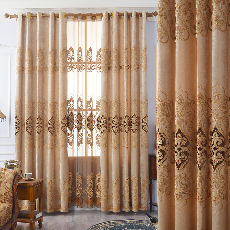 European Embroidery Rope Embroidery With High Shade Curtains For Living Dining Room Bedroom.