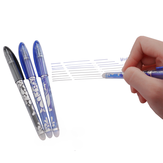 Erasable Pen Set Washable handle Blue Black Color Ink Writing Ballpoint Pens for School Office Stationery Supplies Exam Spare 2