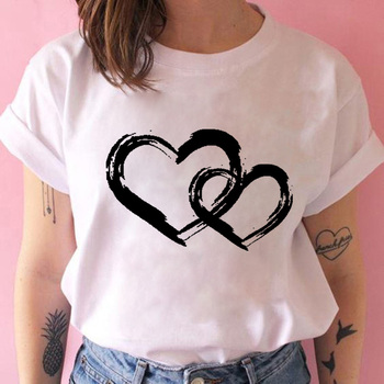 Women T-shirts with Hearts Casual Harajuku Print Summer Short Sleeve Female Vogue Clothes