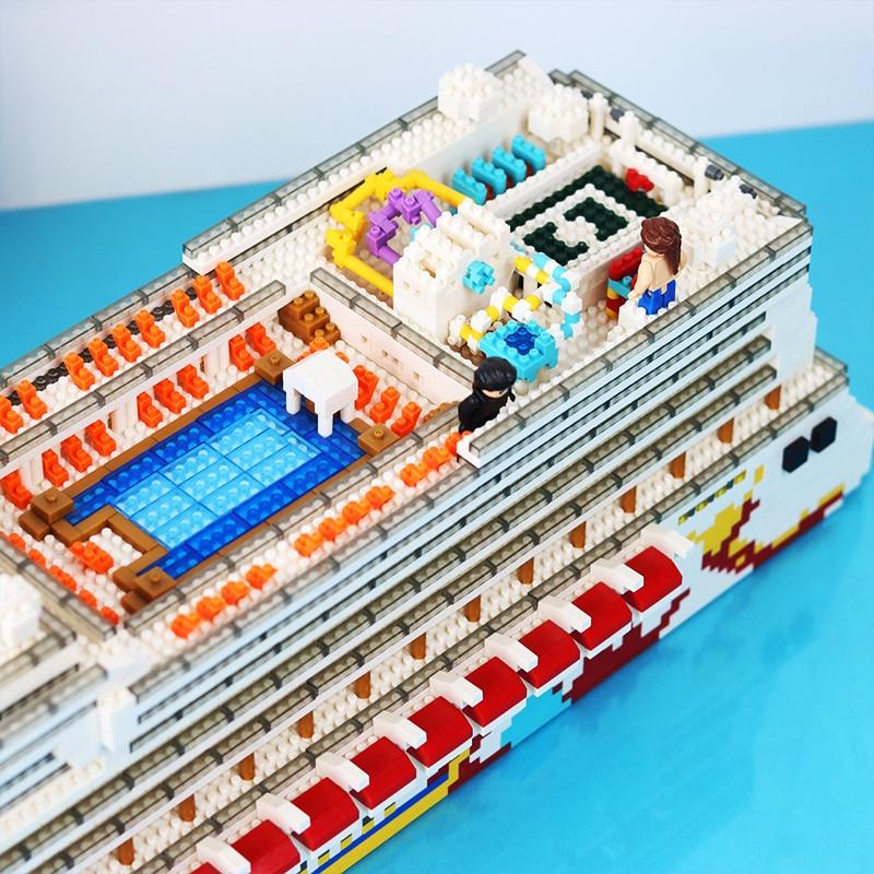 ZRK 7800 Luxury Cruise Liner Ship Big Boat Diamond Mini Building Nano Blocks Toy
