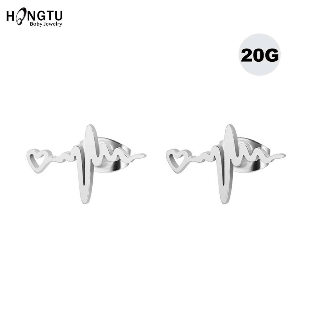 1.2mm 2-4PCS Stainless Steel Earring Studs 16G Rabbit Shape Screw Back Stud Earrings Body Piercing Jewelry
