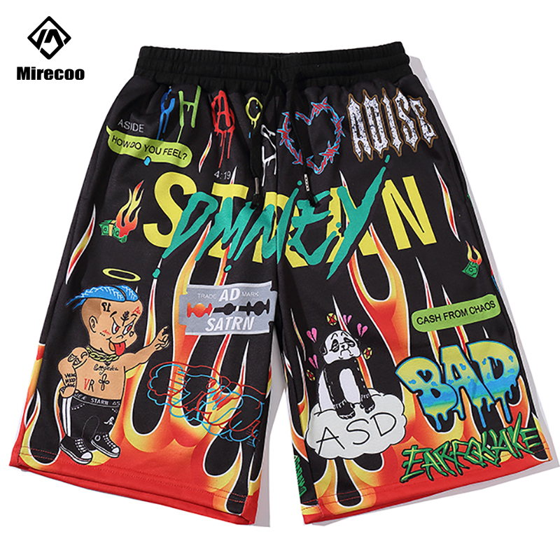 Graffiti Print Hip Hop Shorts Streetwear Harajuku Jogger Shorts Summer HipHop Men Track Short Sweatpant Pocket Male Trousers