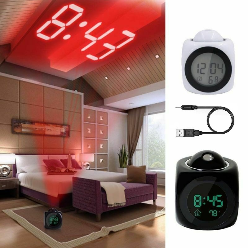 LCD Projection Digital Alarm Clock LED Display Time Talking Voice Prompt Snooze Function Desk