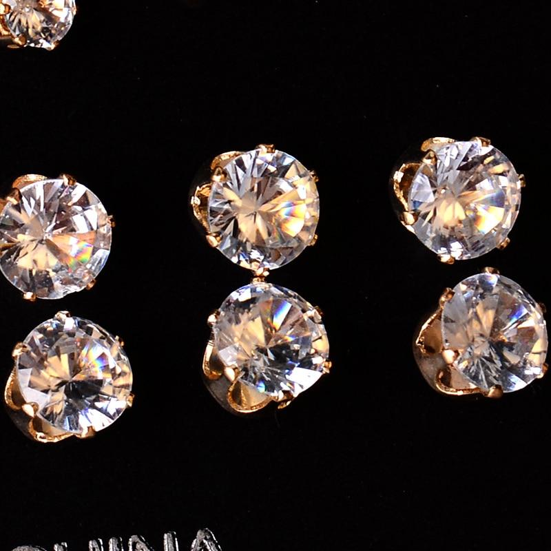 12 paar//paket AAA CZ Shiny Hochzeit Stud Ohrringe Set für Frauen Männer Kristall