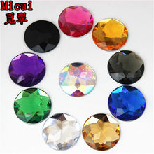 Micui 20pcs 25mm Round Chamfer Crystals Acrylic Rhinestones Flatback Glue On Gems Strass Stone For Clothes Dress Craft MC156