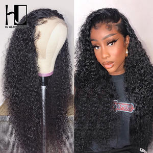 Wig Brazilian Human-Hair Curly Deep-Wave Lace-Front Preplucked Black Women with