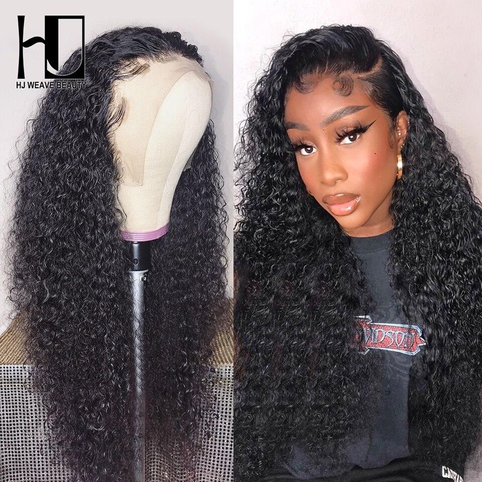 Кудрявые кружевные передние человеческие волосы парики бразильские волосы Remy глубокая волна парик prepucked с волосами младенца парики для чер...