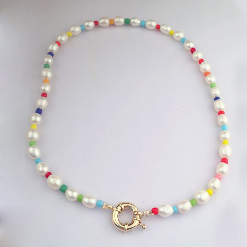 2019 Summer Party Necklace Bracelet Set Anniversary Good Guality Freshwater Pearl Beads Necklace Choker And Bracelet Jewelry Set