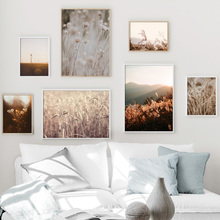 Autumn Dandelion Windmill Wheat Sunset Wall Art Canvas Painting Nordic Posters And Prints Pictures For Living Room Decor