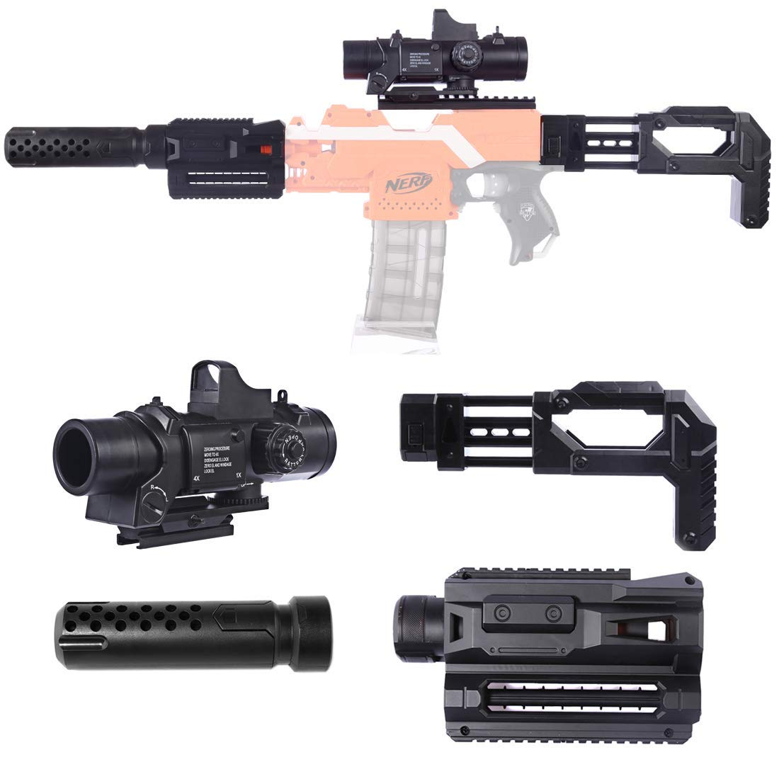 Upgrade Mods Kit For Nerf With 6X Targeting Scope With 7cm Rail  Magazine Clip Holder Deco Silencer Tube Adapter