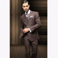New Classic Men's Suit Smolking Noivo Terno Slim Fit Easculino Evening Suits For Men high quality incision lapel brown wedding g