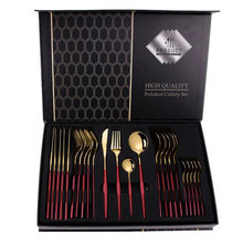24Pcs Matte Stainless Steel Cutlery Set Dinnerware Set Black Gold Knife Fork Spoon Silverware Kitchen Party Dinner Tableware Set