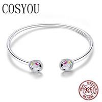 COSYOU 2019 New Arrival 925 Sterling Silver Colorful Enamel Women Bracelets Bangles for Women Sterling Silver Jewelry SCB082