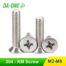 10/20/50 pces m2 m2.5 m3 m4 m5 m6 m8 304 cruz de aço inoxidável phillips parafuso de cabeça escareada plana para o portátil