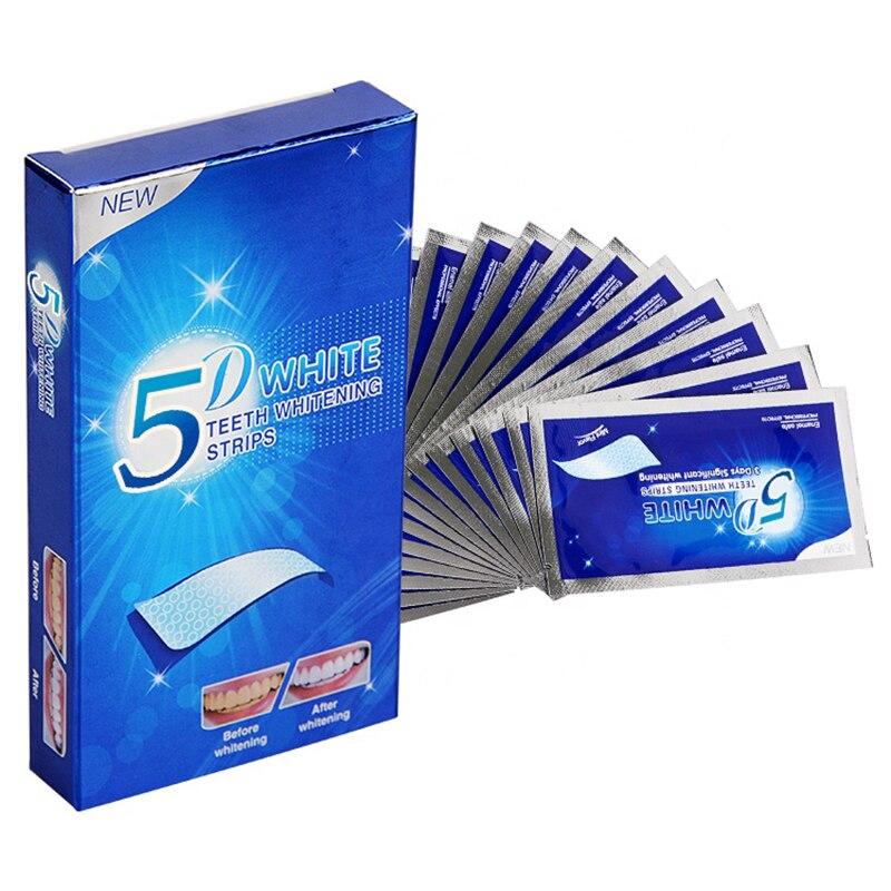MJ 5D Gel bandes de blanchiment des dents kit dentaire de dents blanches bande de soins dhygiène buccale pour fausses dents