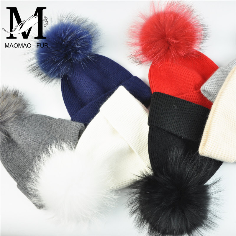 New Women's Hat Winter Beanie Knitted Hat Angora Rabbit Fur Bonnet Girl 's Hat Fall Female Cap with Fur Pom Pom Tops 5