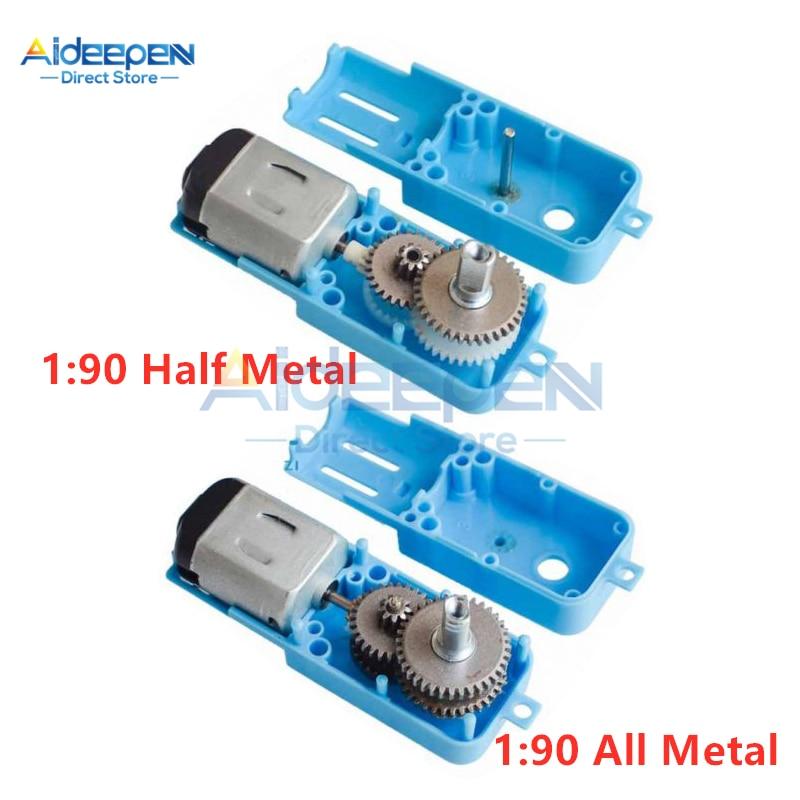 1: 90 Dc 3 V-6 V All Metal/Mezza Metallo Ingranaggi in Metallo Motore Singolo Ingranaggio Asse Robot Del Motore intelligente Del Veicolo Riduttore di Velocità Del Motore Tt