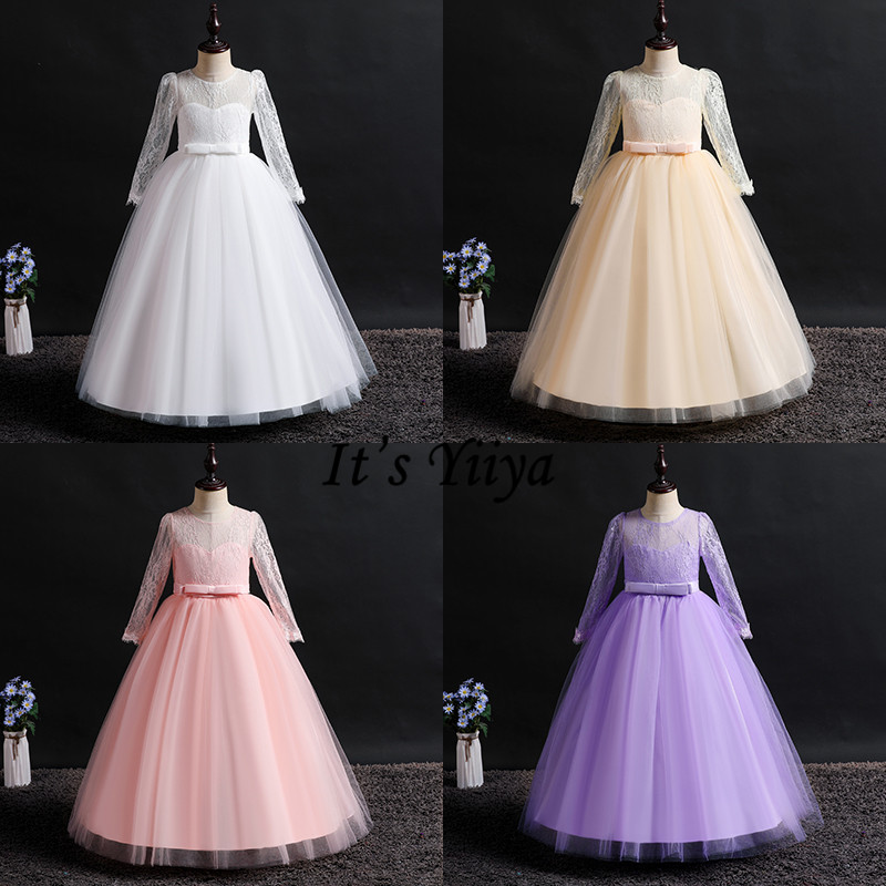 It's YiiYa   Flower     Girl     Dresses   8 Colors Elegant Long Sleeves Lace Bow Ball Gown   Girls   Pageant Communion Kids Party   Dresses   1022