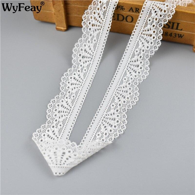 5Yards/Lot beyaz elastik dantel kurdele bağı Trim işlemeli dikiş iç çamaşırı dekorasyon afrika dantel kumaş DIY düğün elbisesi