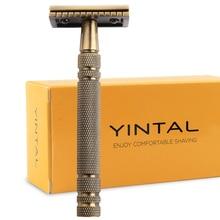 Lâminas de segurança para barbear masculino clássico metal dupla borda barbeador bronze estilo lâmina substituível