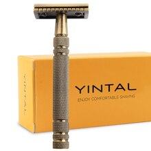 Rasoirs de sécurité pour rasage hommes classique en métal Double bord rasoir en laiton Bronze Style lame remplaçable