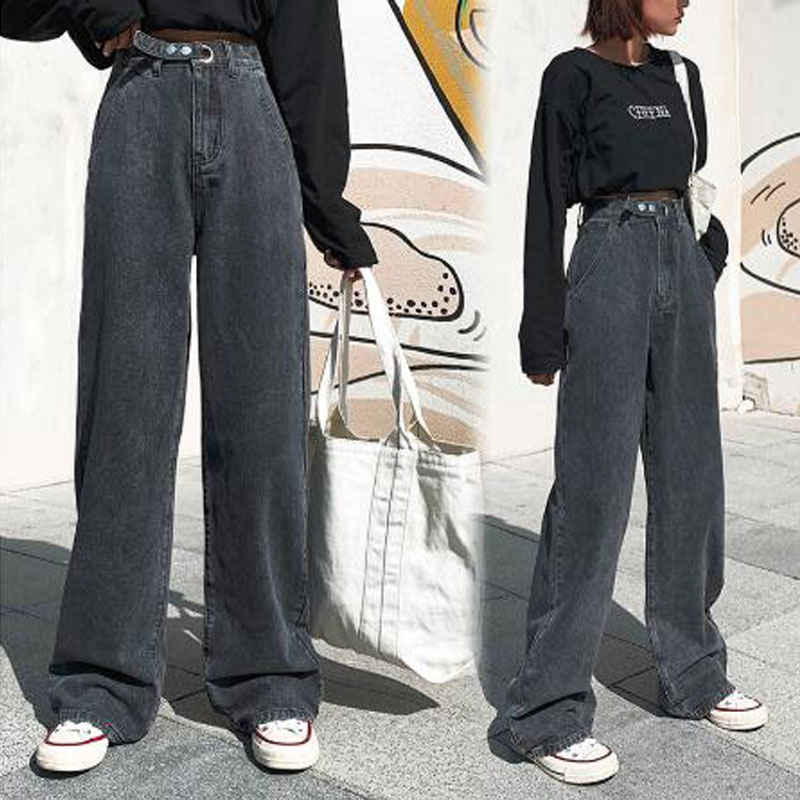 Woman Jeans High Waist Clothes Wide Leg Denim Clothing Blue Streetwear Vintage Quality Fashion Harajuku Straight Pants