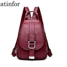 Atinfor marka z zabezpieczeniem przeciw kradzieży kobiety skórzane plecaki torebka Vintage kobieca torba na ramię podróż mały plecak pani