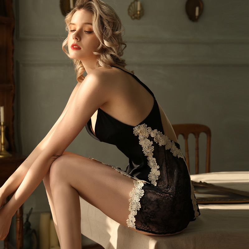 Image 4 - Young Girl Lace Sleepwear Woman Ice Silk Suspender Sleeping Dress Side Split Hot Lingerie Beautiful Back Tempting NightdressNightgowns & Sleepshirts   -
